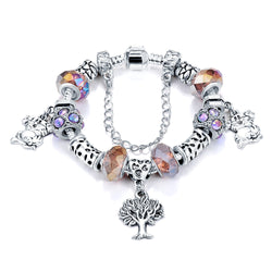 High Quality 925 Silver Women Butterfly Charm Bracelet Bangle With Multicolor Glass Bead European 925 Silver pulseira feminina - onlinejewelleryshopaus