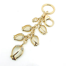 JINGLANG Latest Hot-selling Fashion Gold Plated Metal Keyring Dangle Rhinestone Glass Leaf Charms Keychains Luxury Jewelry - onlinejewelleryshopaus