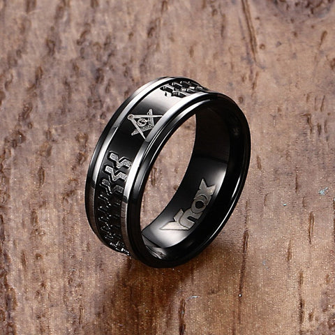 Mprainbow Stunning Mens Rings Stainless Steel Masonic Rings for Men Wedding Bands Male Fashion Jewelry Black anel masculino - onlinejewelleryshopaus