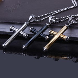 2 colors Personality screw Cross 316L Stainless Steel pendant necklaces men Never fade  jewelry  wholesale - onlinejewelleryshopaus