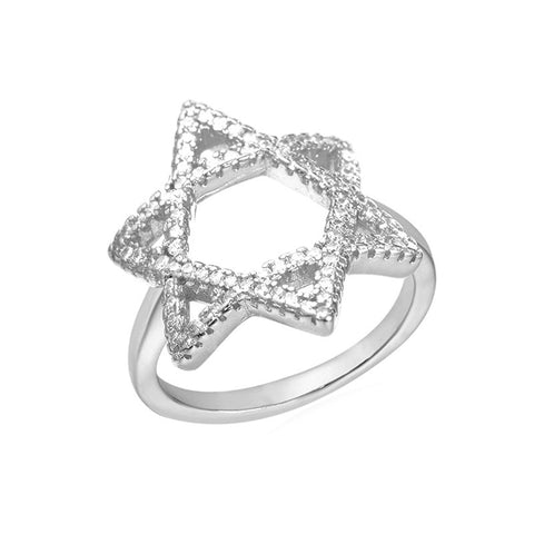U7 Magen David Star Ring Crystal Zirconia Yellow Gold/Platinum Plated Women Wedding Ring With Box Israel Jewish Jewelry R211 - onlinejewelleryshopaus
