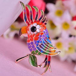 Noble Bird Empress Brooch Colorful Enamel Gold Plated Women Brooches For Bag Ladies Branch Birds Pins Corsage Free Shipping - onlinejewelleryshopaus