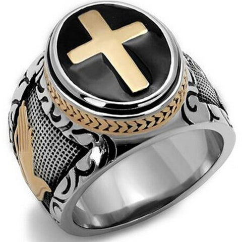 Size 7-15 Vintage Silver Gold Black Two-Tone Holy Cross Signet Ring Prayer Christian Jesus Religious Cocktail Valentine - onlinejewelleryshopaus
