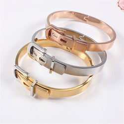 316L Stainless Steel Belt Buckle Bangles&Bracelets Openable Rose/ Gold/Silver Color Women Brand Jewelry Top Quality Wholesales - onlinejewelleryshopaus