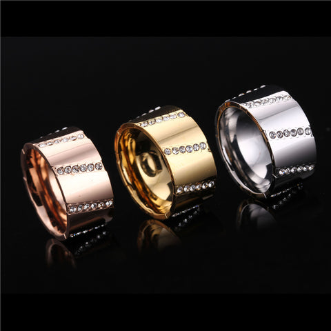 Men Women Couple Stainless Steel Finger Rings Wedding Gold/Rose Plated  High Polished Crystal Fashion Brand Jewelry Wholesales - onlinejewelleryshopaus