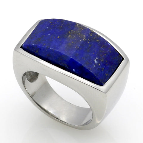 Top Quality Fashion Jewelry 316L Stainless Steel Malachite/Lapis Lazuli Natural Stone Ring For Men Birthday Gift - onlinejewelleryshopaus