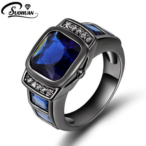 2016 Fashion Male Ring Wholesale Black Gold Filled jewelry super blue Gem Men finger rings for men R058 - onlinejewelleryshopaus