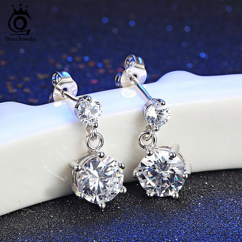 2017 Luxury Silver Crystal Stud Earrings with 1.5ct Clear CZ New Fashion Jewelry for Women Birthday's Party Gift OE34 - onlinejewelleryshopaus