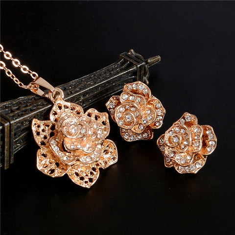 Fashion Bridal Jewelry Sets Hot Sale Classic Gold Plated Flower Crystal Rhinestone Earrings Necklaces jewelery Sets Women - onlinejewelleryshopaus