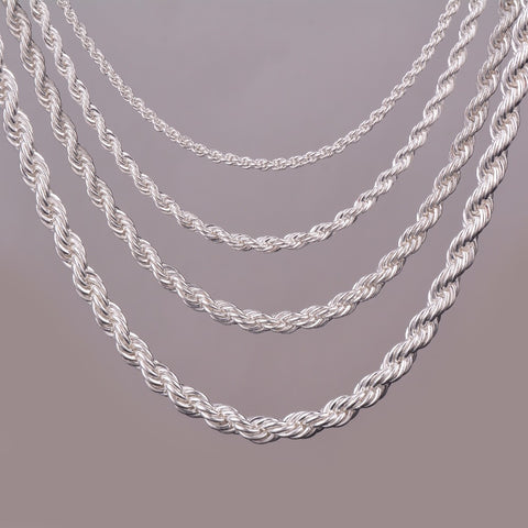 "16""18""20""24"" silver plated rope chain necklace 2mm,3mm,4mm,5mm For pendant rope jewelry findings - onlinejewelleryshopaus"