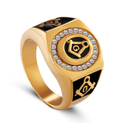 Stainless steel freemason ring wholesale cz diamond ring Men Gold Masonic ring - onlinejewelleryshopaus