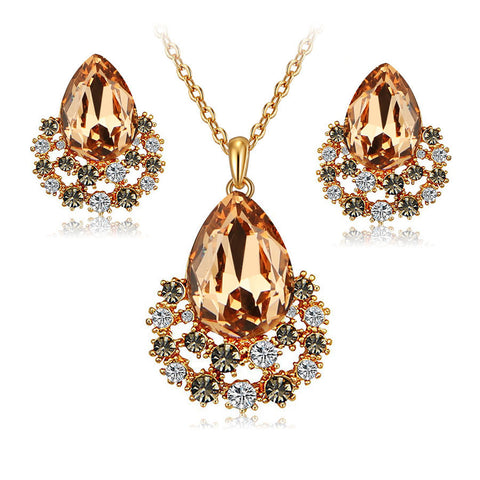 jewelry sets gold plated women girls fashion austrian crystal wedding bridal nigerian african party necklace earings set gifts - onlinejewelleryshopaus