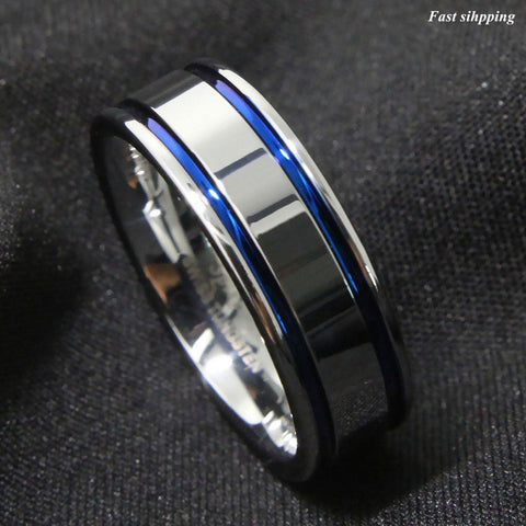 8Mm Tungsten Carbide ring Men's Double Blue Stripe Wedding Band Ring Comfort Fit Free Shipping - onlinejewelleryshopaus