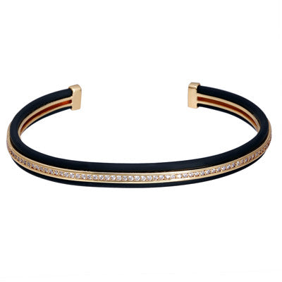 New Luxury Brand Wire Bangles Men Bangles Bracelet Gold Plated Male Cuff Leather Bangles CZ Open Bangle Jewelry - onlinejewelleryshopaus