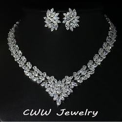 Super Luxury Bridal CZ Simulated Diamond Jewelry White Gold Plated African Wedding Zirconia Beads Jewelry Sets For Brides T146 - onlinejewelleryshopaus