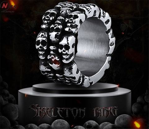 14.5mm Heavy Gothic Punk Black Silver  Horror Surround Skulls 316L Stainless Steel Mens Ring Gothic Biker Rock Punk Jewelry - onlinejewelleryshopaus