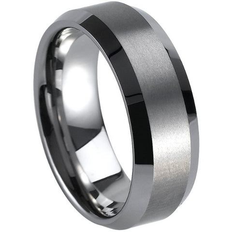 Men Size 7-15 Classical Simple Plain Brushed Matee Tungsten Carbide Ring Graduation Wedding Engagement Band - onlinejewelleryshopaus