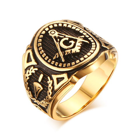 2016 Punk Style Stainless Steel Masonic Rings for Men Jewelry Vintage Classic Pattern Freemason Mens Ring SMT0735 - onlinejewelleryshopaus
