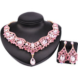 9 Colors Choice,Hot Teardrop Czech Rhinestone Crystal Choker Necklace + Earrings Bridal Jewelry Sets African Jewelry Set - onlinejewelleryshopaus