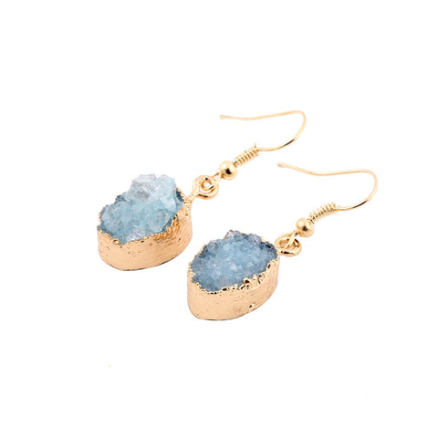 Gold Quartz Druzy Oval Earrings Natural Agate Geode Druzy Drusy Geometric Stud Earrings Natural Stone Jewelry  SE001 - onlinejewelleryshopaus