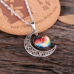2016 Star Sailor Moon Necklace Pendant Crescent Vintage Hollow Long Silver Chain Link Pendants Galactic Glass Cabochon Sweater - onlinejewelleryshopaus