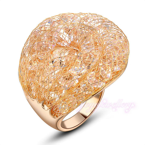 Mytys Hot Sale  Ring  Gold Wire Mesh Net Rings in Stock Cheap price Crystal Ring R575 - onlinejewelleryshopaus