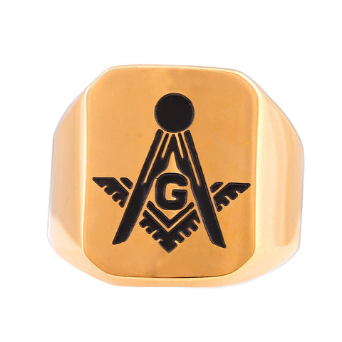SEDUC Brand Hot Selling Classic Men Finger Ring Gold Plated Fashion Jewelry With Black Freemasonry Ring Man - onlinejewelleryshopaus