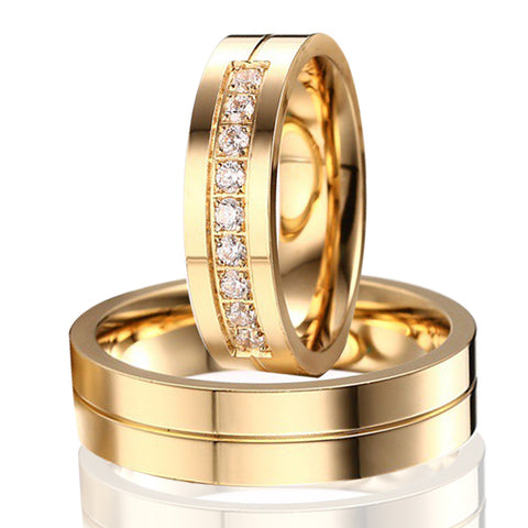 1 Pair Lover's Gold Plated Engagement Ring with 9 CZ for Ladies 6mm Simple Wedding Ring Set for Male Hot Alliance in Brasil - onlinejewelleryshopaus