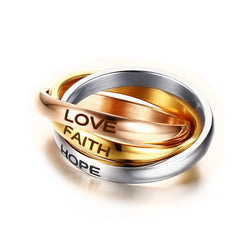 Mprainbow Women Rings 3MM Stainless Steel Tri color Triple Interlocked Rolling Ring Wedding Band Laser LOVE HOPE FAITH Jewelry - onlinejewelleryshopaus