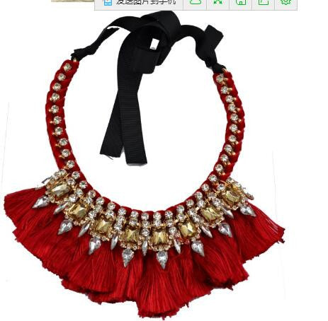 European gold silk ribbon chain crystal feather tassels colar bib shourouk necklace for women party jewelry - onlinejewelleryshopaus