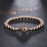 Fashion Men's Round Copper Beads Bangles & Bracelets Micro Pave CZ Cubic Zirconia Evil Eye Charms Bracelets Gold Colors Jewelry - onlinejewelleryshopaus