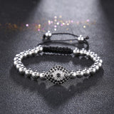 1pcs fashion Brand men bracelet Pave Setting Black CZ Evil Eye Connector with Round Bead Braiding Men Macrame Bracelets - onlinejewelleryshopaus