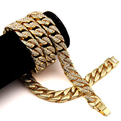 NYUK Iced Out Men's Hip Hop Necklace Gold Plated Full Of Rhinestone CZ Stone Miami Cuban Necklace & Bracelet Set For Men Women - onlinejewelleryshopaus