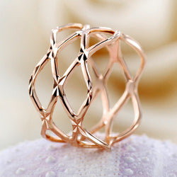 Gold fashion rose gold geometry cutout ring female ka161 fashion rings for women free shipping! - onlinejewelleryshopaus