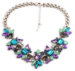 2016 New Fashion Luxury Crystal Flower Necklaces For Women Statement Choker Maxi Necklace Wholesale 2N358 - onlinejewelleryshopaus