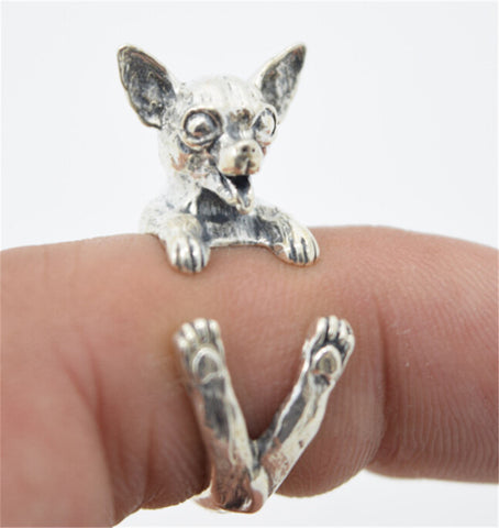 10pcs/lot Antique Silver Cute Chihuahua Dog Rings Adjustable Animal Rings for Women Lovely Jewelry Gift RONGQING-JZ004 - onlinejewelleryshopaus
