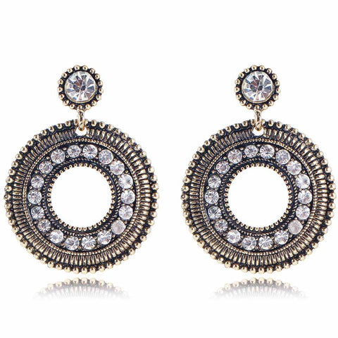 YaYi White Glass Rhinestone Earring Women's Fashion Ancient Gold Earrings gems Round Earrings For Women Girls E997 - onlinejewelleryshopaus