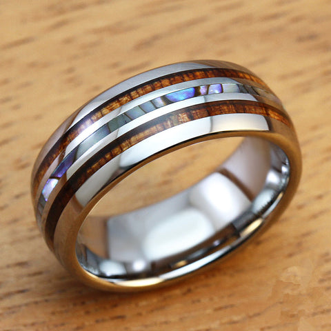 SHARDON Men's 8mm Titanium Wedding Ring With Double Wood & Pearl Shell Inlay Men's Ring size 8-13 - onlinejewelleryshopaus