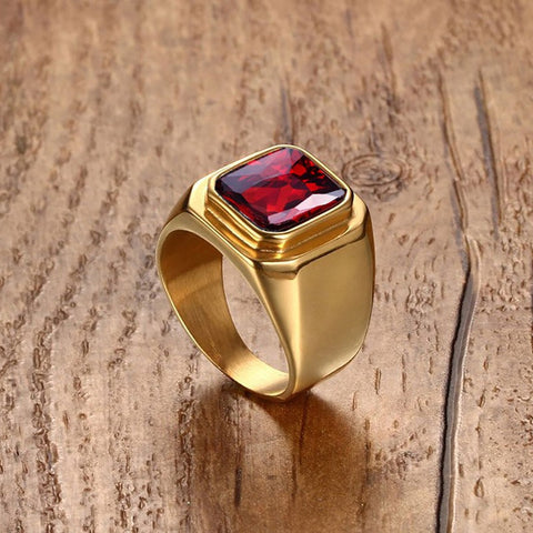 Large Red Crystal Ring Gold Plated Men's Gothic Biker Rings for Party Jewelry - onlinejewelleryshopaus