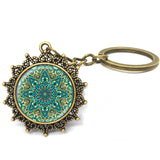 1 Pcs/Lot Art glass pendant Mandala Key chain Sacred geometry jewelry handmade Keychain New 2016 Key Ring Gifts - onlinejewelleryshopaus