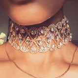 High Quality Vintage crystal Jewelry Hallow out rhinestone Choker Necklace Statement metal Alloy Necklace Sexy wide Chocker Gift - onlinejewelleryshopaus