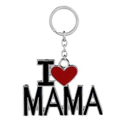 Family Jewelry Gift Enamel Heart I Love MAMA/MOM/DAD/PAPA Carton Key Chains Bag Rings Mothers Fathers Day Souvenir Jewelry Gift - onlinejewelleryshopaus