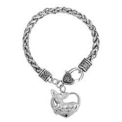 1pcs animal lovely dog Chihuahua sitting in heart charm bracelets - onlinejewelleryshopaus