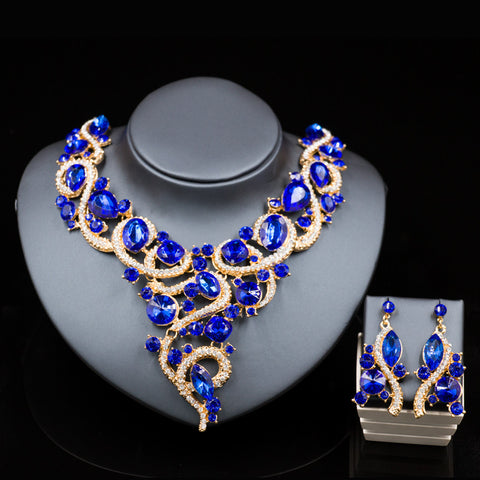 Indian jewelry nigerian beads necklaces gold plated necklace and earrings  bridal jewelry sets six colors free shipping - onlinejewelleryshopaus