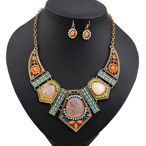 Indian Ethnic Style Jewelry Sets European Geometric Colorful Resin Short Chunky Necklace Earrings For Women Set - onlinejewelleryshopaus