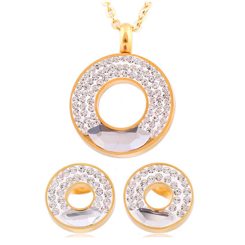 Stainless steel Pendant Necklace Earrings Jewelry Wholesale New 18K Real Gold Plated Crystal Rhinestone Bridal Jewelry Sets - onlinejewelleryshopaus