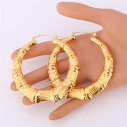 Earrings For Women High Quality yellow Gold Plated Or Platinum Plated Jewelry Earring Fashion Big Bamboo Hoop Earrings E953 - onlinejewelleryshopaus