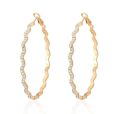 Big Hoop Earrings  Austrian Rhinestone yellow Gold Plated Basketball Wives Jewelry For Women E625 - onlinejewelleryshopaus