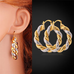 U7 Hoop Earrings Fashion Jewelry Yellow Gold & Platinum Plated Wholesale unique Design Round Hoop Earrings For Women Gift E122 - onlinejewelleryshopaus