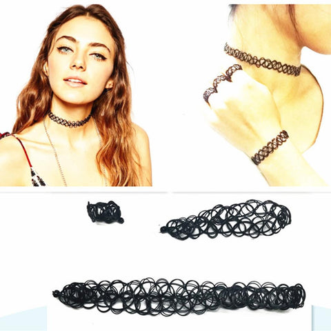 2016 Vintage Style Women Jewelry Sets Black Color Fish Wire Choker Necklaces Bracelets Rings For Fashion Women Hot - onlinejewelleryshopaus